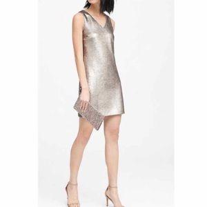 NEW Banana Republic Metallic Silver Dress 12